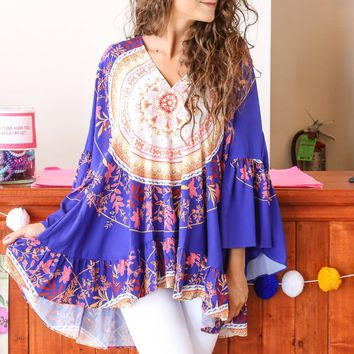 V-Neck Tunic, Cobalt