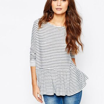 New Look | New Look Stripe Peplum Top at ASOS