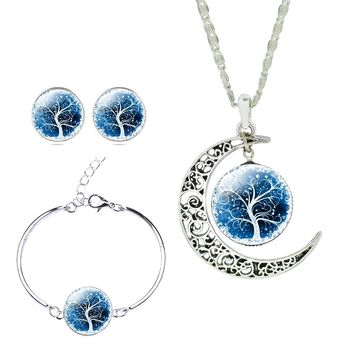 Women's Fashion Sterling Silver Jewelry Sets Life Tree Earrings Necklaces Bracelets