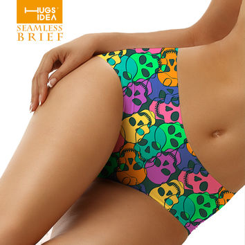 Fashion Women Colorful Skull Design Short Sexy Panty Bamboo Fiber Spandex Seamless Briefs Comfortable Panties Size S/M/L