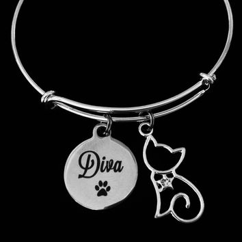 Diva Cat Jewelry Adjustable Bracelet Expandable Charm Bangle Animal Lover Gift Kitten Crystal Rhinestone One Size Fits All Paw Print