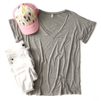 Heather Gray Boyfriend V-Neck Top