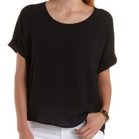 Oversized Chiffon Dolman Tee by Charlotte Russe