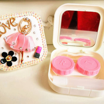 New Pink Girl Contact Lense Box Set Contacts Case