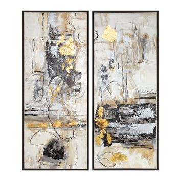 Life Scenes Hand Painted Abstract Artwork - Set of 2 by Uttermost