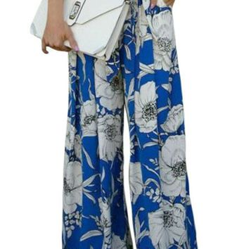 Chicloth Blue White Floral Print Palazzo Pants