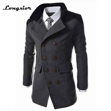 J-M7 Men's Autumn Winter Coat Turn-down Collar Wool Blend Men Pea Coat Double Breasted Winter Overcoat,SIZE XXXL