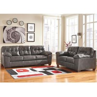 Signature Design by Ashley Alliston Living Room Set in Gray DuraBlend