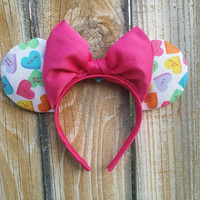 Valentines Minnie Ears in sweethearts print