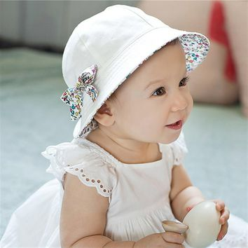 Summer Flower Print Cotton Baby Hat Cap Kid Girls Cotton Floral Bowknot Caps Sun Bucket Hats Double Sided Can Wear Caps