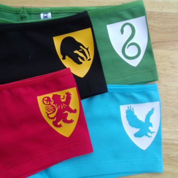 Hogwarts Houses Slytherin, Ravenclaw, Gryffindor, and Hufflepuff Crest Boy Short/Shortie underwear 4 pack