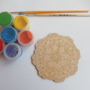 Mandala Coloring Fridge Magnet-Wooden Craft Shapes-Hand made Crafts-DIY Crafts-m001