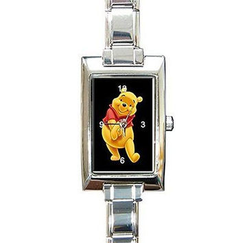Winnie the Pooh on a Rectangular Silver Italian Charm Watch.. Think Small Wrist
