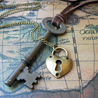 His and Hers Lock and Key Necklaces - Steampunk Key To My Heart Necklace Set