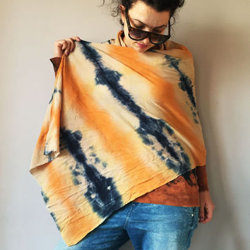 Tie Dye Cotton Multicolor Scarf Hand Dyed Indigo Blue Rust Orange Shawl Vegan Accessory Tan Beige Tangerine Blue Wrap Ladies Shopping Online