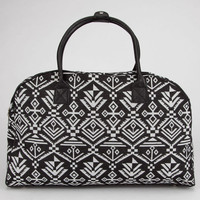 Tribal Print Duffle Bag Black/White One Size For Women 23097512501