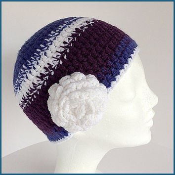 Purple winter cap, Girls beanie, Purple women hat, Lilac winter cap, Kids cap, Lilac stripe cap, Chunky hat, Flower beanie,Changeable flower