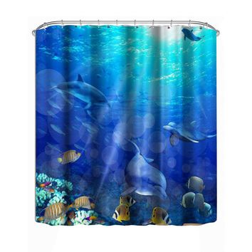 1.8 M Modern Waterproof shower 3D Underwater world Shower Curtain Bathroom Curtain fish curtains for bath room