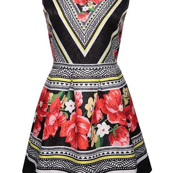 Streetstyle  Casual Designed Floral Printed Striped Round Neck Skater Dress