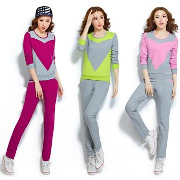 2017 Solid O-neck Long-sleeve Sweatshirt And Pant 2 Pieces Lady High Quality Plus Size Tracksuit Women Sport Suit