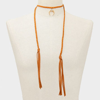 Boho Brown Braided Twist Suede Gold Double Horn Crystal Rhinestone Pendant Tassel Necklace