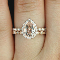 Tabitha 8x6mm & Ultra Petite Bead Eye 14kt Rose Gold Pear Morganite and Diamonds Halo Wedding Set (Other metals and stone options available)