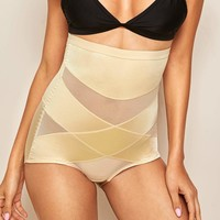Criss Cross Mesh Insert Shapewear Shorts