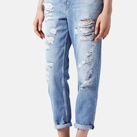 Women's Topshop 'Hayden' Destroyed Boyfriend Jeans (Light)