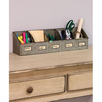 Industrial -Chic Galvanized Five Section  Desk Organizer with Bookplates