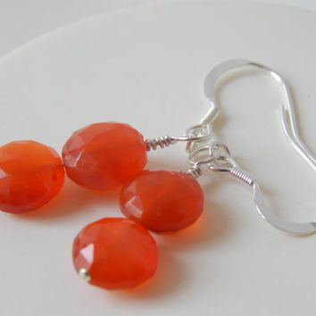 Orange Carnelian Sterling Silver Dangle Earrings with Stud or Hook Backs