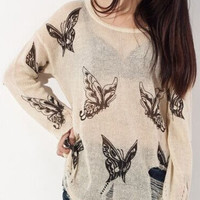 Apricot Round Neck Butterfly Print Knitwear