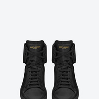 Saint Laurent SL/01H Court Classic HIGH TOP SNEAKERS IN BLACK LEATH | ysl.com