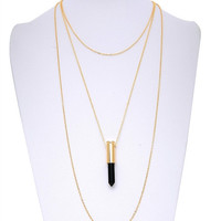 Layered Crystal Bullet Necklace (Black)