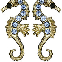 Betsey Johnson Pave Seahorse Stud Earrings