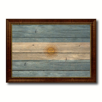 Argentina Country Flag Texture Canvas Print with Brown Custom Picture Frame Home Decor Gift Ideas Wall Art Decoration