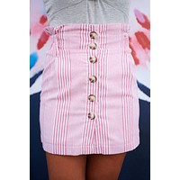 Kally Striped Button Up Skirt (Red)