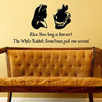Wall Decal Alice In Wonderland Inspired How Long Is Forever White Rabbit Just One Second
