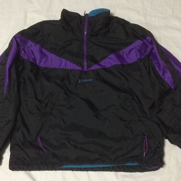 Vtg 90s Columbia Packable Pullover Windbreaker Jacket Mens M Purple Black Aqua