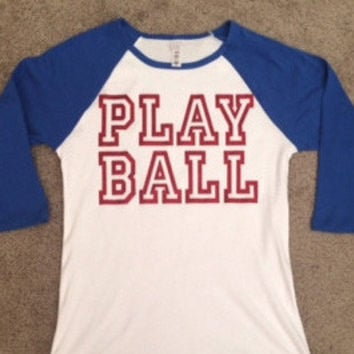 Baseball Womens Raglan Tee - Play Ball - Ruffles with Love