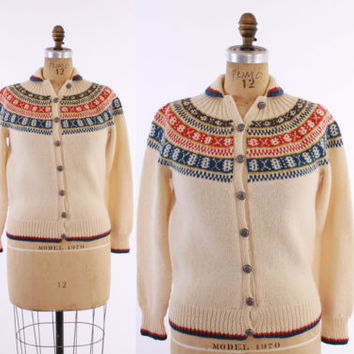 60s Handknit NORWEGIAN CARDIGAN / Vintage 1960s SWEATER Ivory, Blue & Red Scandinavian Wool, xs - s