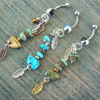 CHOOSE A zuni bear belly ring gemstone jasper turquoise in tribal native american inspired boho gypsy hippie belly dancer  and hipster style