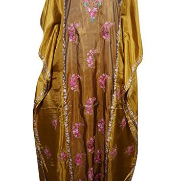 Mogul Womens Kaftan Double Shaded Silk Floral Embroidery Kashmiri Caftan Maxi Dress Cover Up
