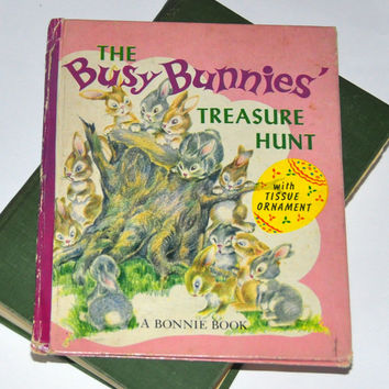 Easter Story. Easter Book. 1950s Children's Book. The Busy Bunnies' Treasure Hunt w/Tissue Ornament-Bonnie Book Sharon Banigan. Rabbit Story