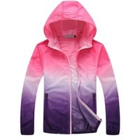 Outdoor Lightweight UV Protection Jacket Summer Beach Coat Pink&Purple - M