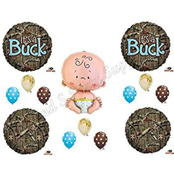 IT'S A BUCK CAMOUFLAGE BABY BOY SHOWER Balloons Decoration Supplies Mossy Oak