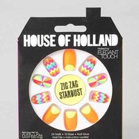 House Of Holland X Elegant Touch Zig Zag Stardust Faux Nail Set- Blush One