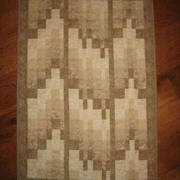 Art Quilt Wall Hanging Coffe, Tan, Beige, and Cream Abstract