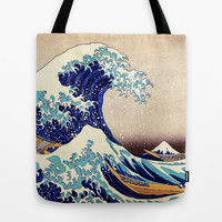 Katsushika Hokusai The Great Wave Off Kanagawa Tote Bag by Art Gallery