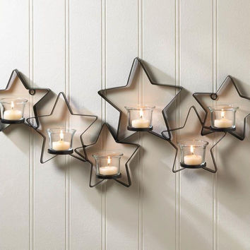 Candle Wall Sconce-Iron Stars