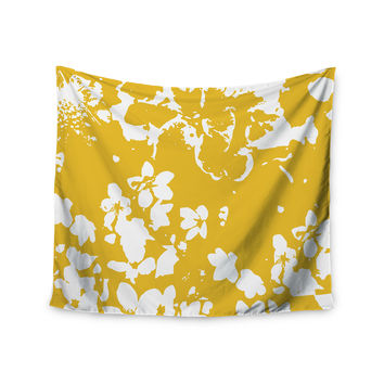 "Love Midge ""Helena Floral Yellow"" Golden White Wall Tapestry"